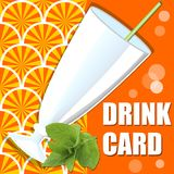 Fresh orange juice drink card with glass and sprig of mint Royalty Free Stock Photography