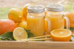 Fresh Orange Juice, Fruit and Straws Royalty Free Stock Photos