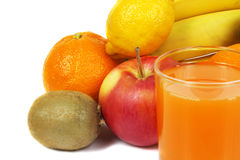 Fresh orange juice and fruits. Over white background Stock Photo