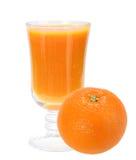 Fresh orange juice and full orange-fruit. Single glass with fresh orange juice and full orange-fruit. Isolated on white background. Close-up. Studio photography Stock Photo