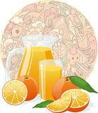 Fresh orange juice on funny doodles texture. Fresh orange juice fruit and slices on funny doodles texture colored background vector illustration Royalty Free Stock Photo