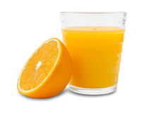 Fresh orange juice glass with fruit Royalty Free Stock Photography