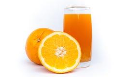 Fresh orange juice glass and fruit. On white royalty free stock photo