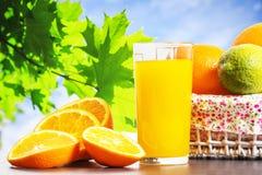 Fresh orange juice in glass stock images