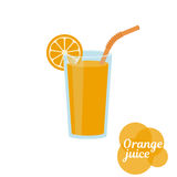 Fresh orange juice in glass. Natural  fresh orange juice in a glass. Orange slice, tube for drinking. Healthy organic food. Citrus fruit. Vector illustration Stock Images