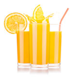 Fresh orange juice in glass with splash Stock Image