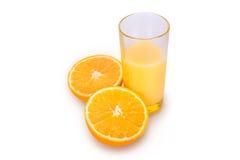 Fresh orange juice. A glass of fresh orange juice on a white background Stock Photography