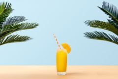 Fresh orange juice on pastel background with palm leaves. Glass of fresh orange juice and green palm leaves on pastel background. Copy space. Pop art design royalty free stock images