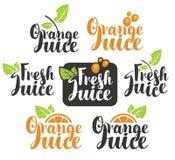 Fresh orange juice. Set vectors logo on fresh orange juice Royalty Free Stock Photos