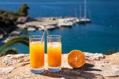 Fresh orange juice summer soft drink concept. Royalty Free Stock Photos