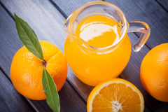 Fresh orange juice on the table. close up still life Royalty Free Stock Photos