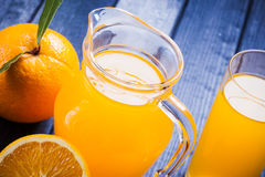 Fresh orange juice on the table. close up still life Stock Photography
