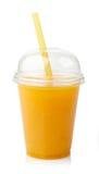 Fresh orange juice. Take away glass of fresh orange juice isolated on white background royalty free stock photo