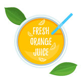 Fresh Orange Juice top view. Vector illustration for your web design or print brochures Royalty Free Stock Photography