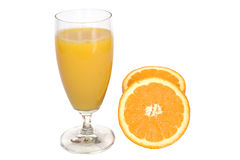 Fresh orange juice on white  Royalty Free Stock Images