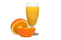 Fresh orange juice on white Royalty Free Stock Photo