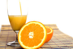 Fresh orange juice on white Stock Photo