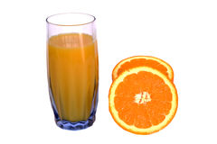 Fresh orange juice on white Stock Images