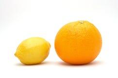Fresh orange and lemon. Isolated on white background Royalty Free Stock Photos