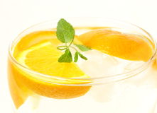 Fresh orange  lemonade with mint leaves Stock Photography