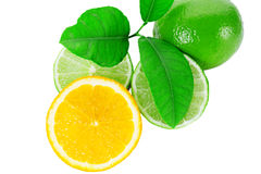 Fresh orange with lime and leaf on white background Royalty Free Stock Image