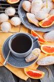 Fresh orange madeleines cookies Royalty Free Stock Images