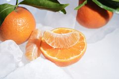 Fresh orange mandarin fruit with green leaves are frozen on cold blue ice. Stock Photography