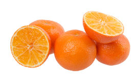 Fresh orange mandarins isolated on a white background Stock Images