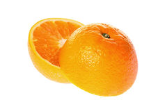 Fresh Orange On White Stock Photos