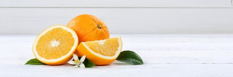 Fresh orange oranges fruit fruits banner copyspace on a wooden b. Oard wood Royalty Free Stock Image