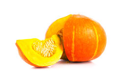 Fresh orange pumpkin isolated on white background Stock Photo
