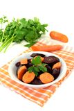 Fresh orange and purple carrots Stock Photography