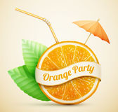 Fresh orange with ribbon and cocktail stick Royalty Free Stock Photography