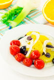 Orange salad with olives, tomatoes and fennel Stock Photos