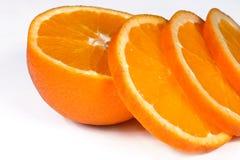 Fresh orange slice. Fresh orange on black background (fruits, food, vitamin Royalty Free Stock Photos