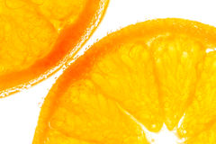 Fresh orange slice in water with bubbles Royalty Free Stock Photography