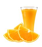 Fresh orange slices and glass of juice isolated on white Royalty Free Stock Photo
