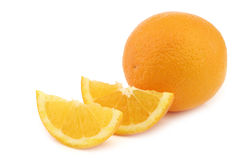 Fresh orange and some cut pieces. On a white background Royalty Free Stock Photography
