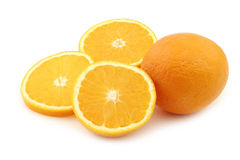 Fresh orange and some cut pieces. On a white background Royalty Free Stock Image