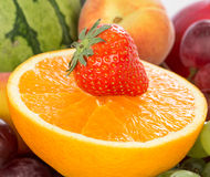 Fresh Orange and strawberries Royalty Free Stock Photo