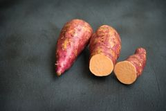 Fresh orange sweet potato royalty free stock photos