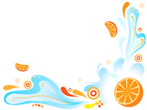 Fresh orange with water splash. And abstract ornamets Stock Photos