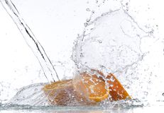 Fresh orange with water splash Royalty Free Stock Photos