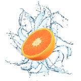 Fresh orange with water splash. On the white background Royalty Free Stock Photography
