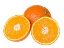 Fresh oranges. Isolated on the white background royalty free stock image