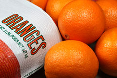 Fresh Oranges. Bag of fresh juicy oranges Royalty Free Stock Images