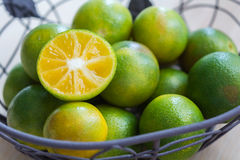 Fresh oranges in a basket. Closeup fresh oranges in a basket Royalty Free Stock Photo