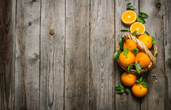 Fresh oranges in the basket with leaves. Stock Images