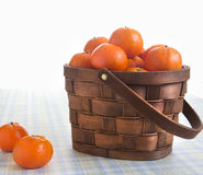 Fresh oranges in a basket on a table. Fresh oranges in a basket on a picnic table Royalty Free Stock Image