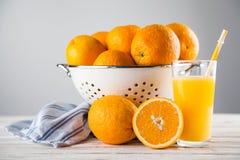 Fresh oranges in a colander Stock Image